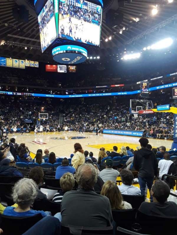 Oracle Arena, section: 110, row: 1, seat: 3