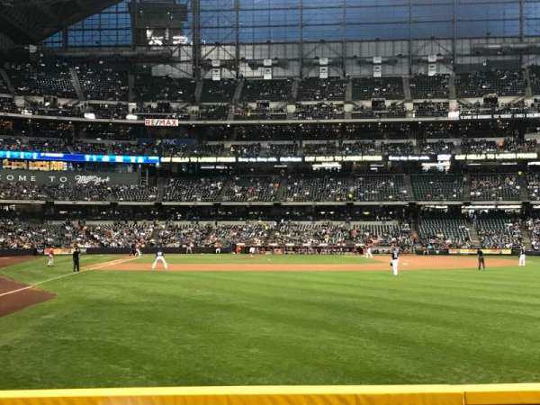 Miller Park, section: 104, row: 1, seat: 21