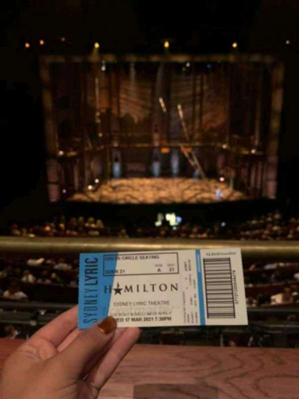 Sydney Lyric, section: Dress Circle, row: A, seat: 31