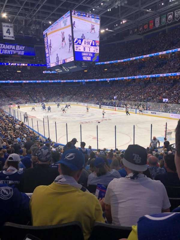 Amalie Arena, section: 110, row: W, seat: 22