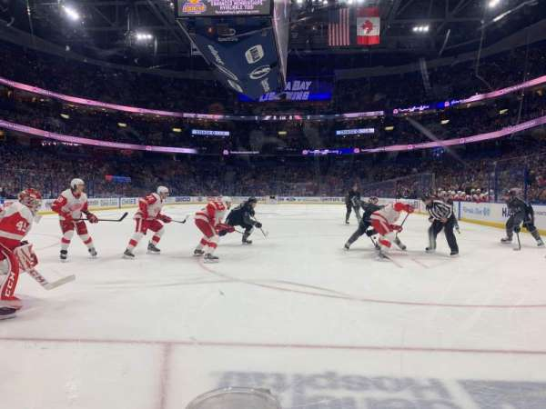 Amalie Arena, section: 108, row: A, seat: 3
