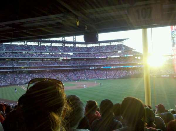 Citizens Bank Park, section: 107, row: 20, seat: 21
