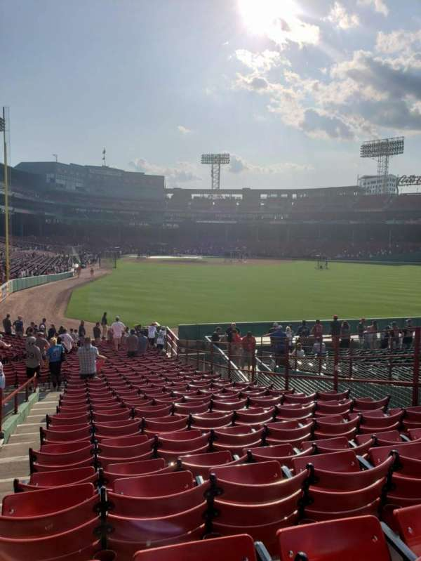 Fenway Park, section: Outfield grandstand 1, row: 1, seat: 8