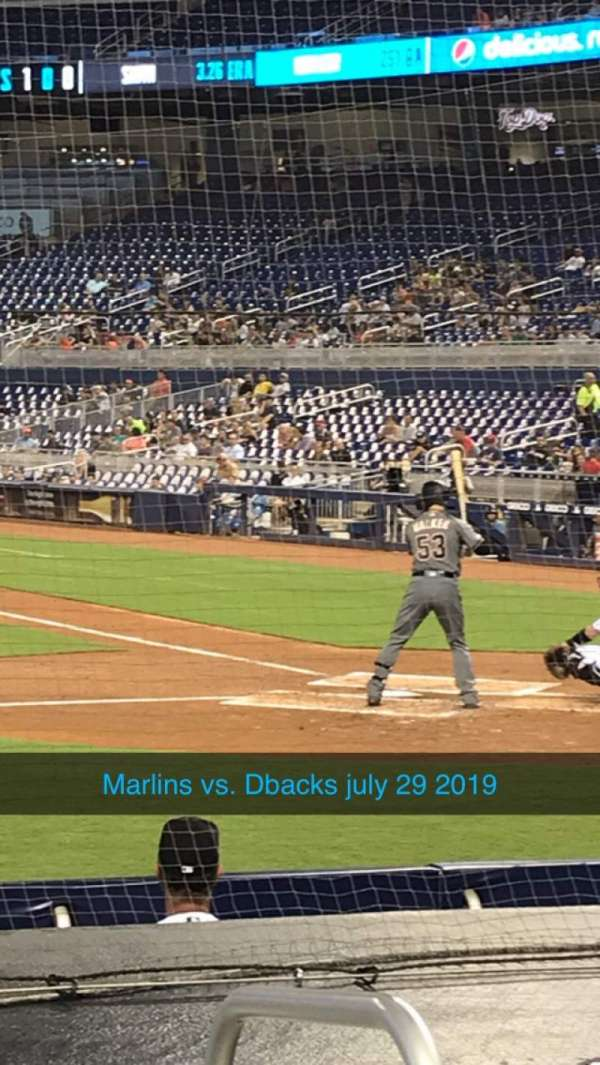Marlins Park, section: 20, row: F, seat: 1