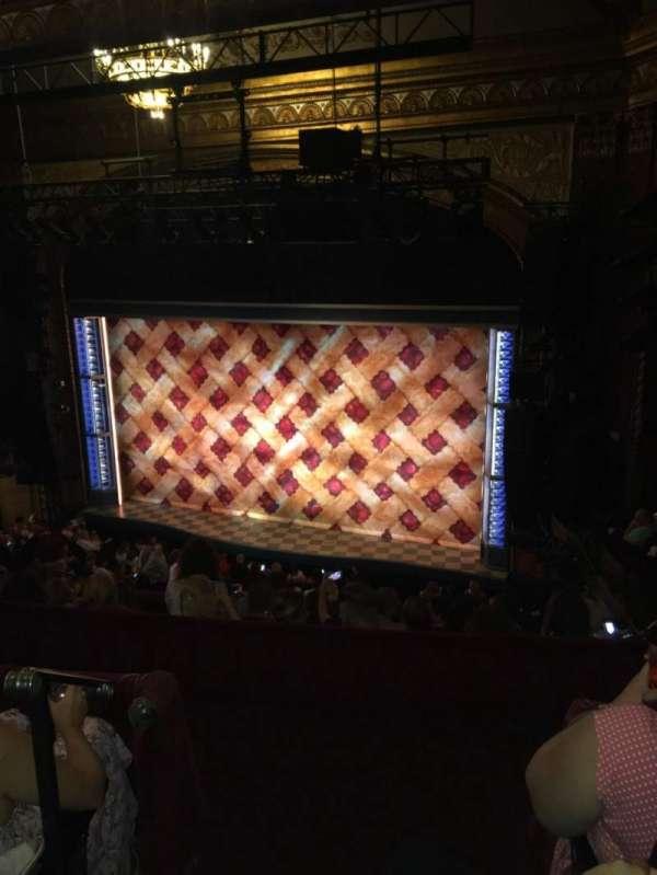 Brooks Atkinson Theatre, section: Rear mezzanine Right, row: G, seat: 2