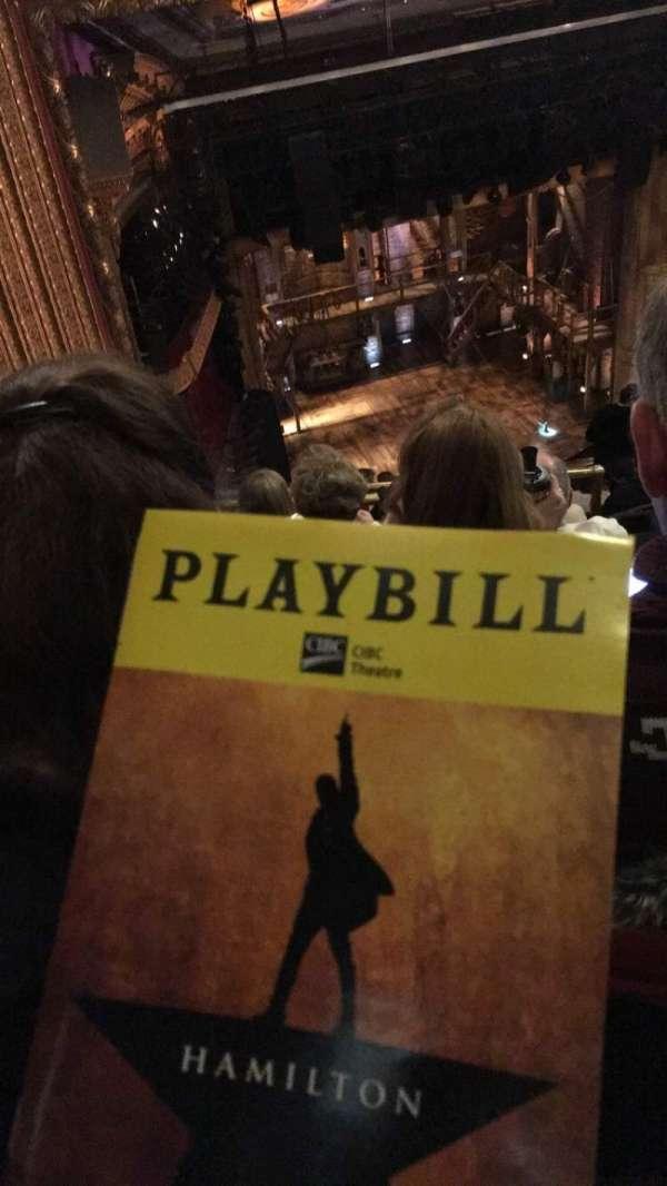 CIBC Theatre, section: BALC-R, row: M, seat: 5