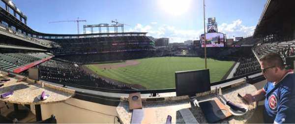 Coors Field, section: Mountain Ranch Club, row: 1, seat: 1