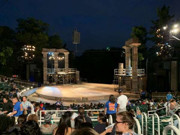 The Delacorte Theater in Central Park, section: H, row: S, seat: 802