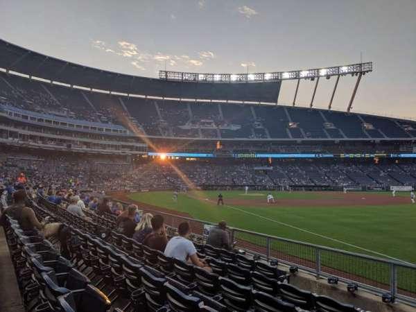 Kauffman Stadium, section: 144, row: H, seat: 1