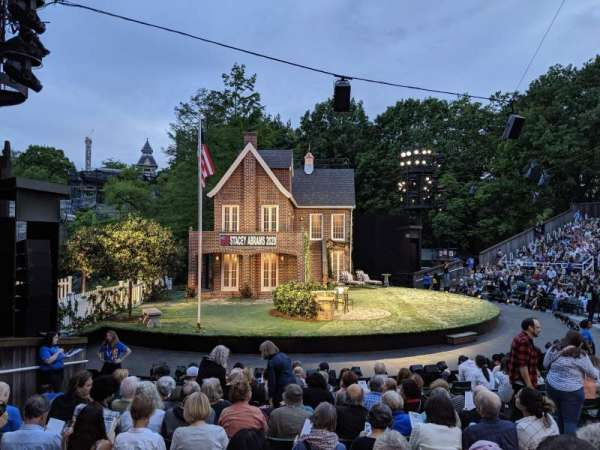 The Delacorte Theater in Central Park, section: O, row: L, seat: 507