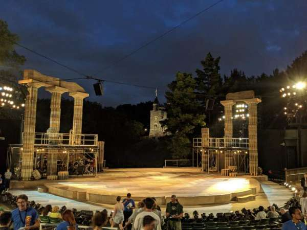 The Delacorte Theater in Central Park, section: L, row: L, seat: 708