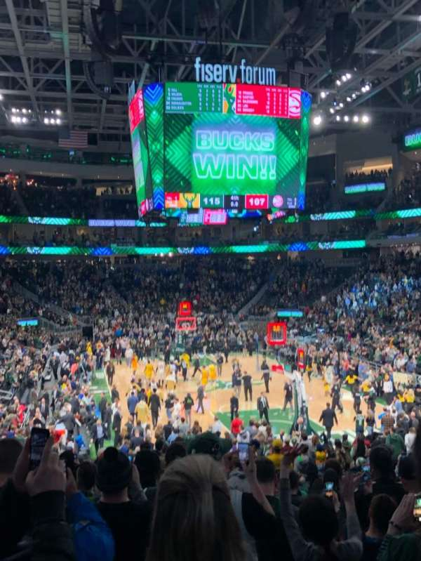 Fiserv Forum, section: 113, row: 20, seat: 9