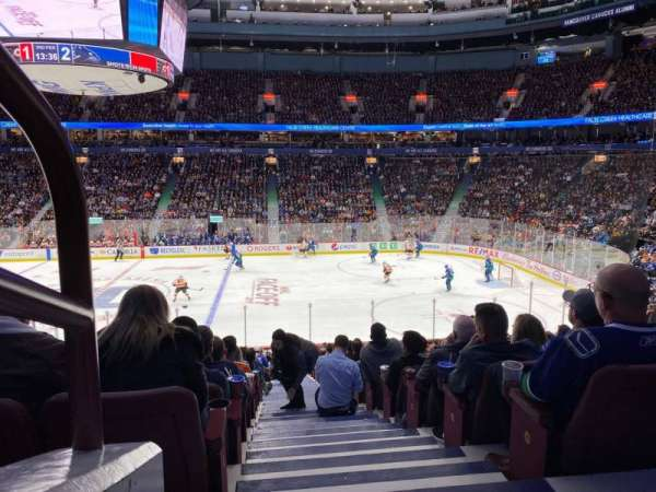 Rogers Arena, section: 105, row: 22, seat: 1