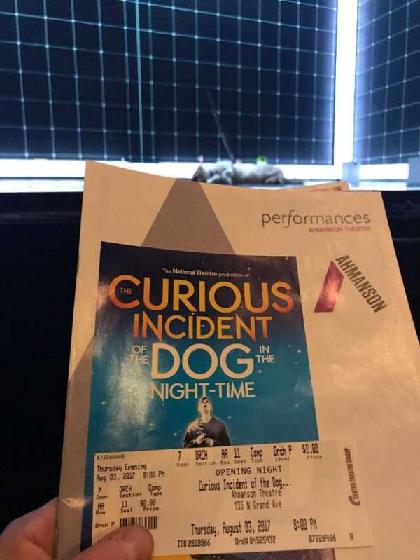 Ahmanson Theatre, section: Orchestra, row: AA, seat: 11