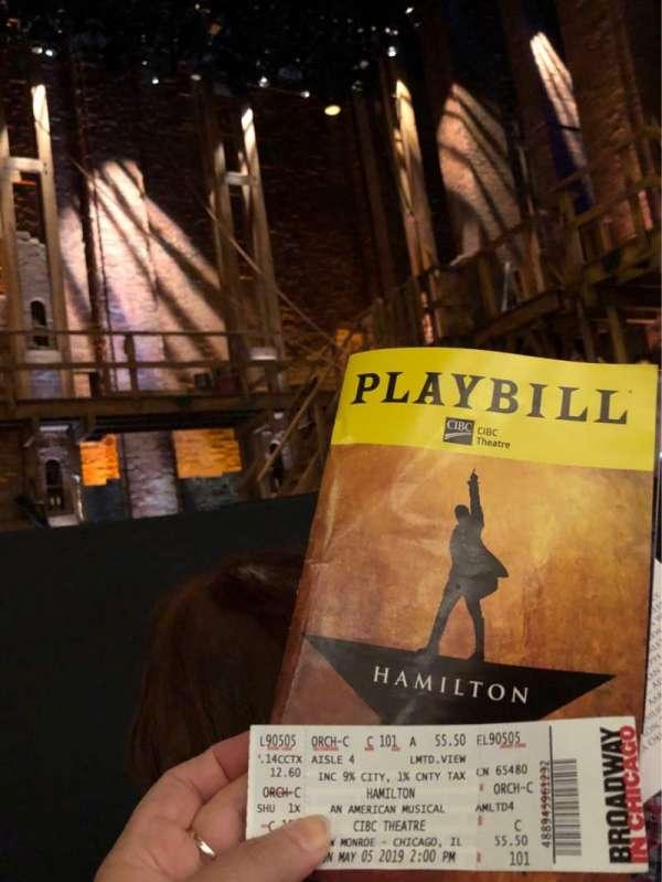 CIBC Theatre, section: Orchestra C, row: C, seat: 101