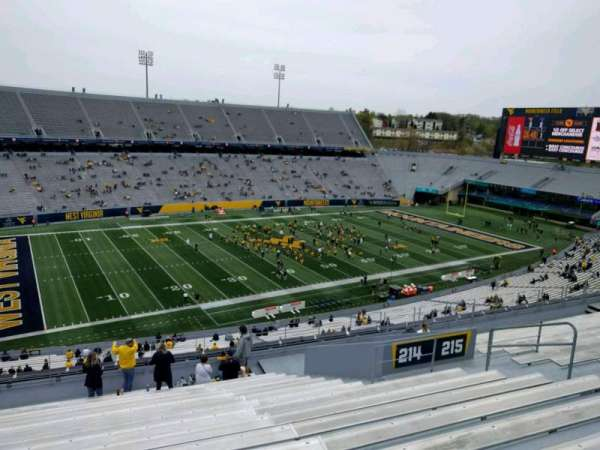 Mountaineer Field, section: 214, row: 17, seat: 22