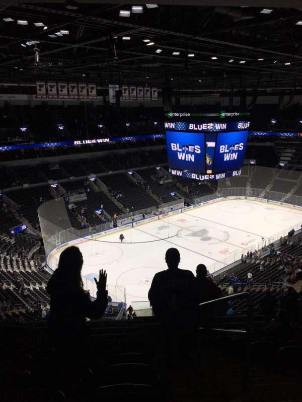 Enterprise Center, section: 325, row: Q, seat: 1