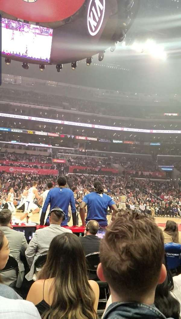 Staples Center, section: 101, row: 1, seat: 9