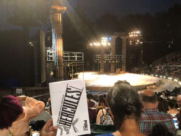 The Delacorte Theater in Central Park, section: O, row: N, seat: 511