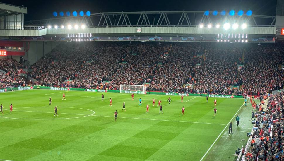 Anfield,  Section <strong>Kop Stand Gangway E</strong>, Row <strong>QQ</strong>, Seat <strong>119</strong>