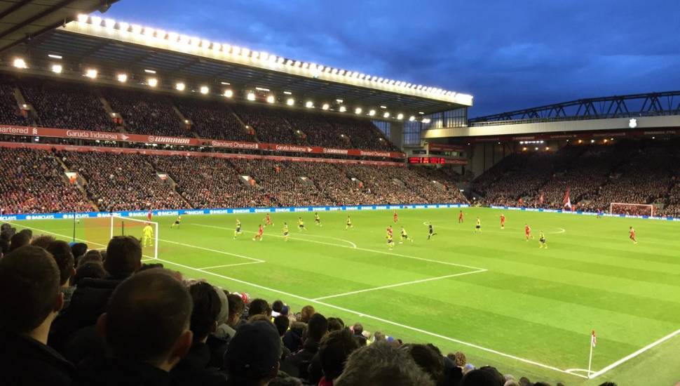 Anfield,  Section <strong>Kop Stand Gangway G</strong>, Row <strong>Y</strong>, Seat <strong>182</strong>