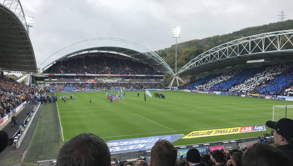 John Smith's Stadium,  Section <strong>South Stand Area T</strong>, Row <strong>T</strong>, Seat <strong>127</strong>