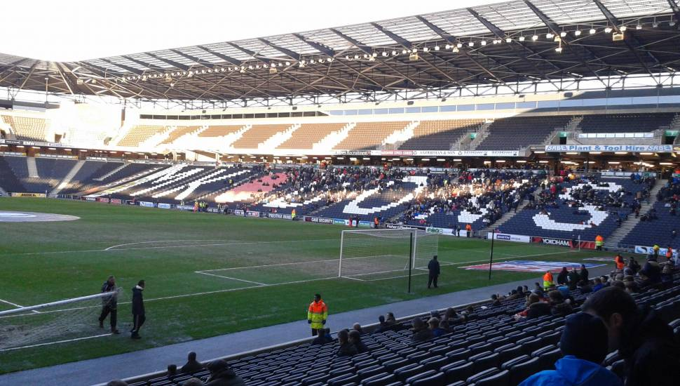 Stadium MK,  Section <strong>The Shed</strong>, Row <strong>Stand</strong>, Seat <strong>Stand</strong>