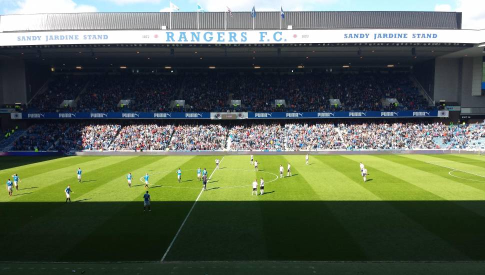 Ibrox Stadium,  Section <strong>JL5</strong>, Row <strong>B</strong>, Seat <strong>140</strong>