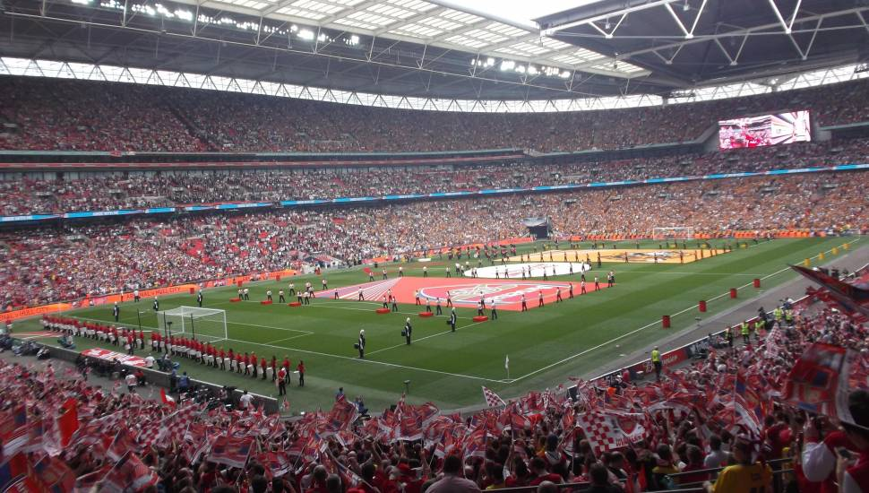 Wembley Stadium,  Section <strong>E</strong>, Row <strong>D</strong>, Seat <strong>105</strong>