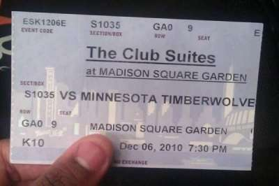 Madison Square Garden, section: S1035, row: GA0, seat: 9