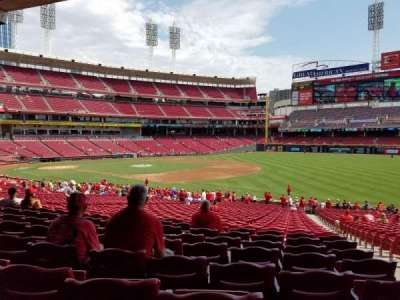 Great American Ball Park, section: 134, row: LL, seat: 1