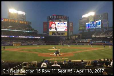 Citi Field, section: 15, row: 11, seat: 5