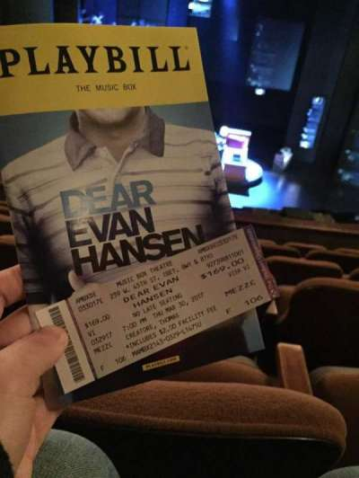 Music Box Theatre, section: Mezz, row: F, seat: 106