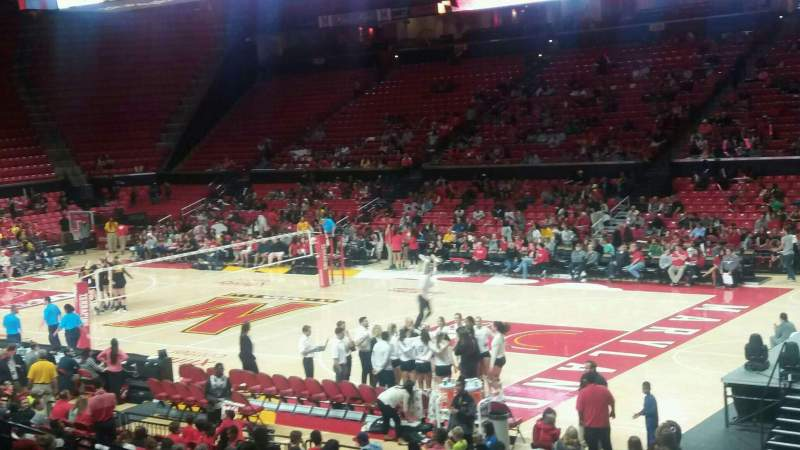 Seating view for Xfinity Center (Maryland) Section 105 Row 8 Seat 20