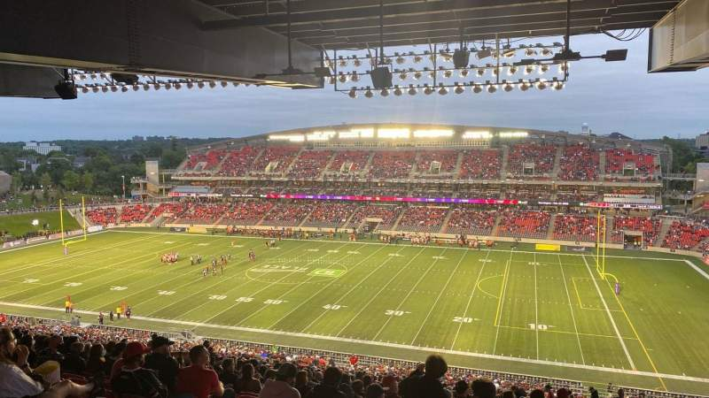 Seating view for TD Place Stadium Section CC Row 23 Seat 11