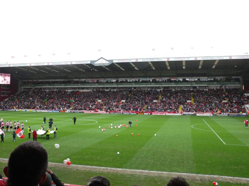 Seating view for Bramall Lane Section South Stand Gangway B Row O Seat 43