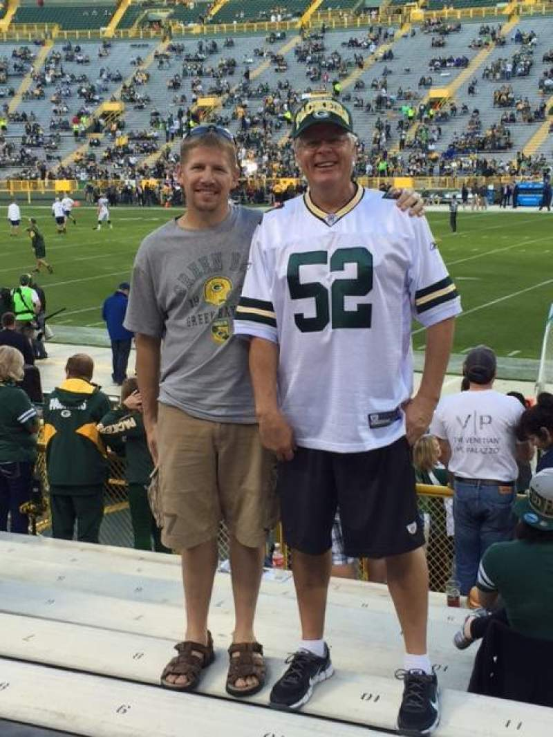 Seating view for Lambeau Field Section 124 Row 10 Seat 11 and 12