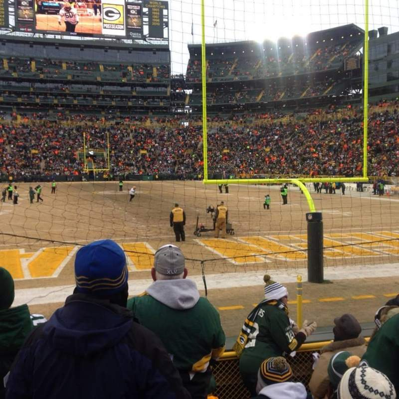Lambeau field section 101 row 52 seat 1 home of green bay packers