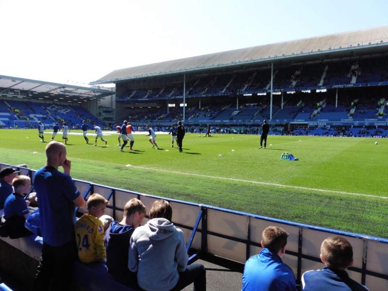 Seating view for Goodison Park Section Paddock Row B Seat 222