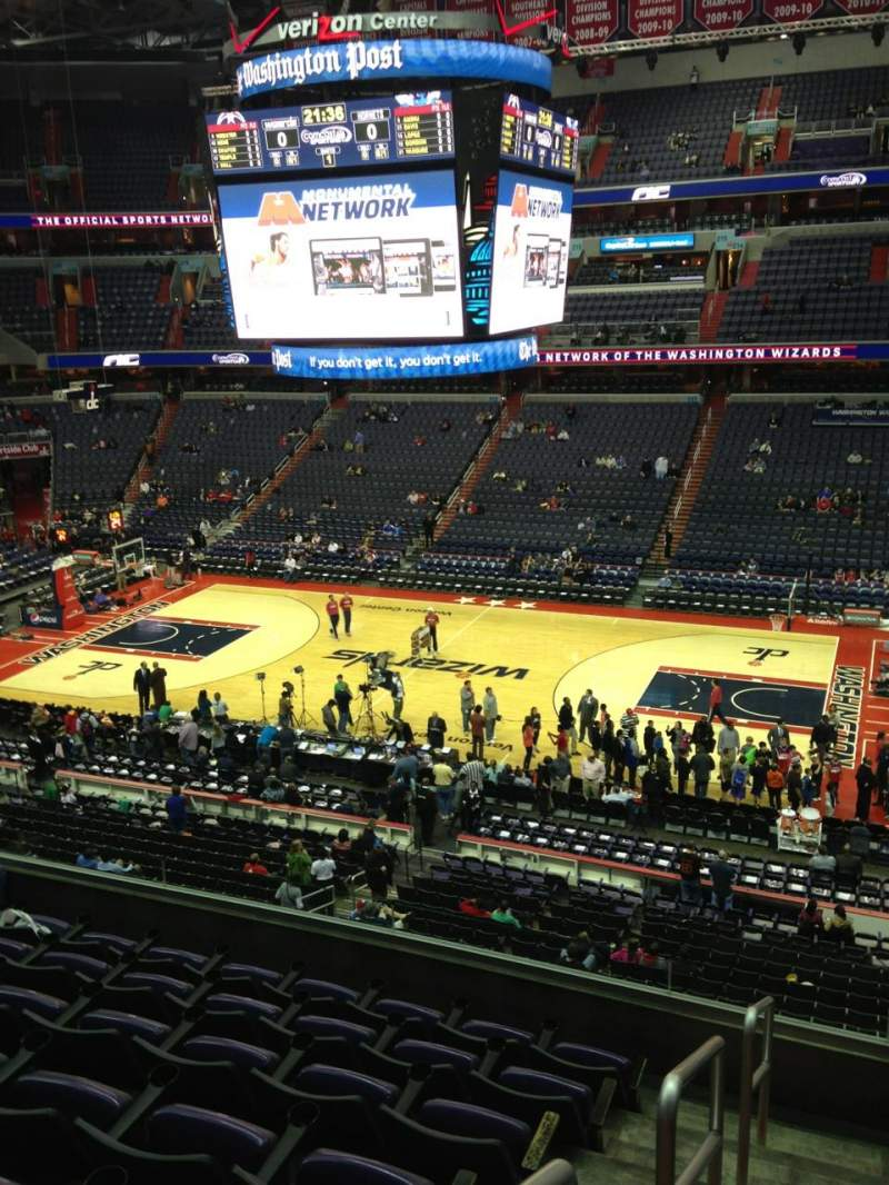 Seating view for Capital One Arena Section 201 Row F Seat 1