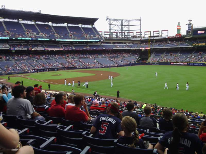 Seating view for Turner Field Section 225 L Terrace Level Row 7 Seat 107