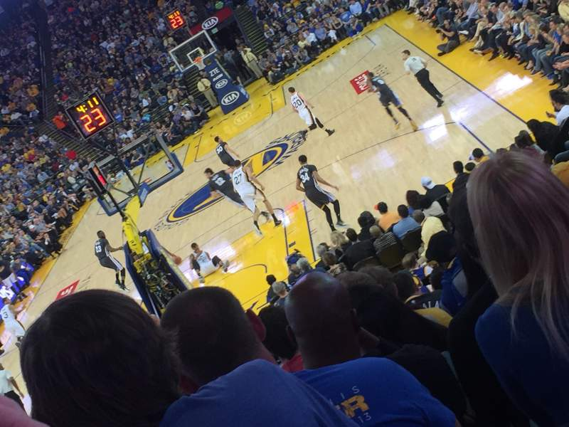 Seating view for Oracle Arena Section 121 Row 16 Seat 15