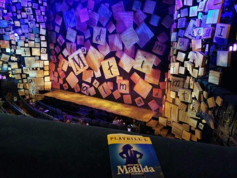 Seating view for Shubert Theatre Section Mezzanine R Row A Seat 14 and 16