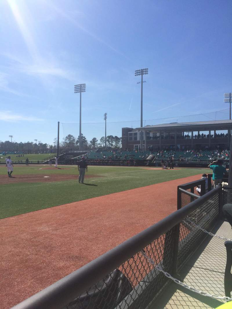Seating view for Charles Watson Stadium Section Left field box Row A Seat 1