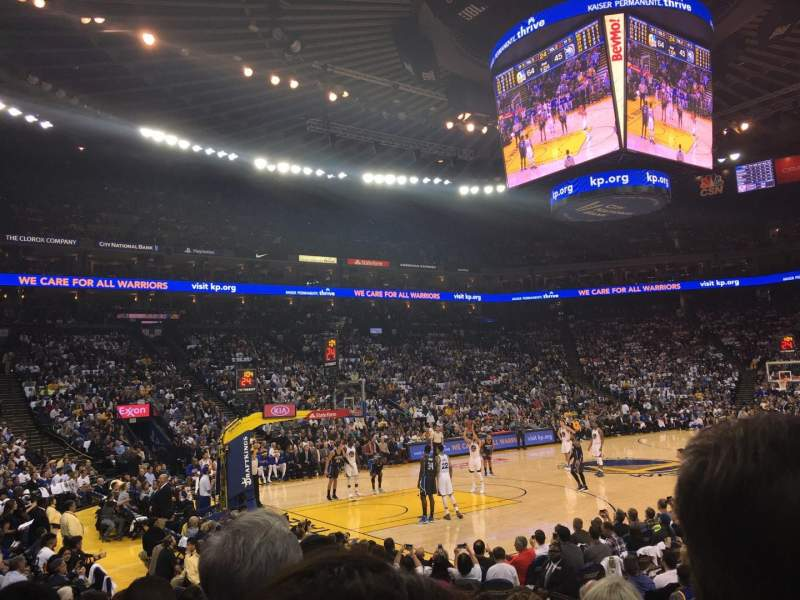 Seating view for Oracle Arena Section 119 Row 7 Seat 5