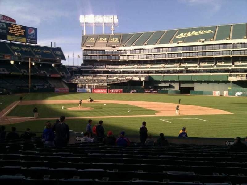 Seating view for Oakland Alameda Coliseum Section 114 Row 18 Seat 16
