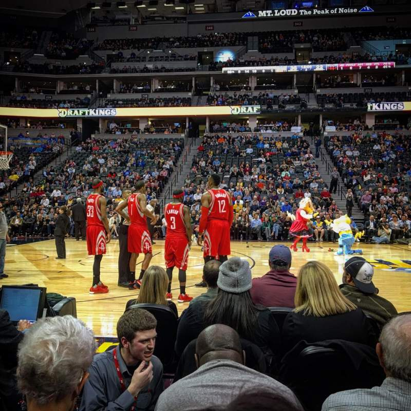 Houston Rockets Vs Denver Nuggets: Pepsi Center, Section 102, Row 1, Seat 10