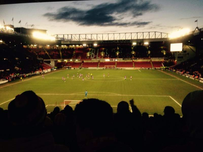 Seating view for Bramall Lane Section Kop Stand Gangway E Row QQ Seat 119