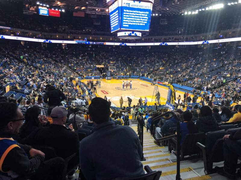 Seating view for Oracle Arena Section 123 Row 18 Seat 2