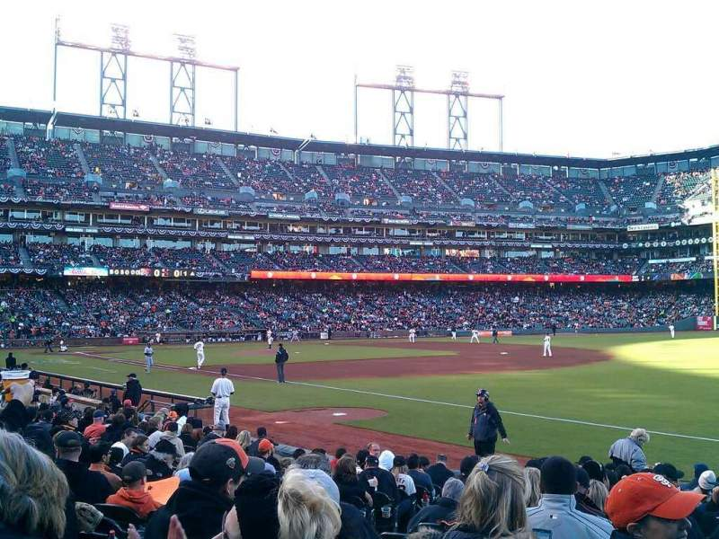 Seating view for Oracle Park Section 102 Row 15 Seat 13